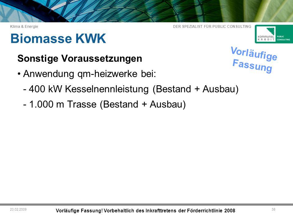 DER SPEZIALIST FÜR PUBLIC CONSULTING Klima & Energie 3820.02.2009 Biomasse KWK Vorläufige Fassung.