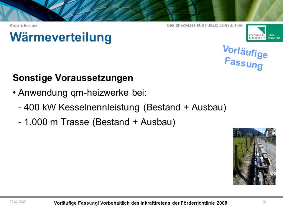 DER SPEZIALIST FÜR PUBLIC CONSULTING Klima & Energie 4220.02.2009 Wärmeverteilung Vorläufige Fassung.