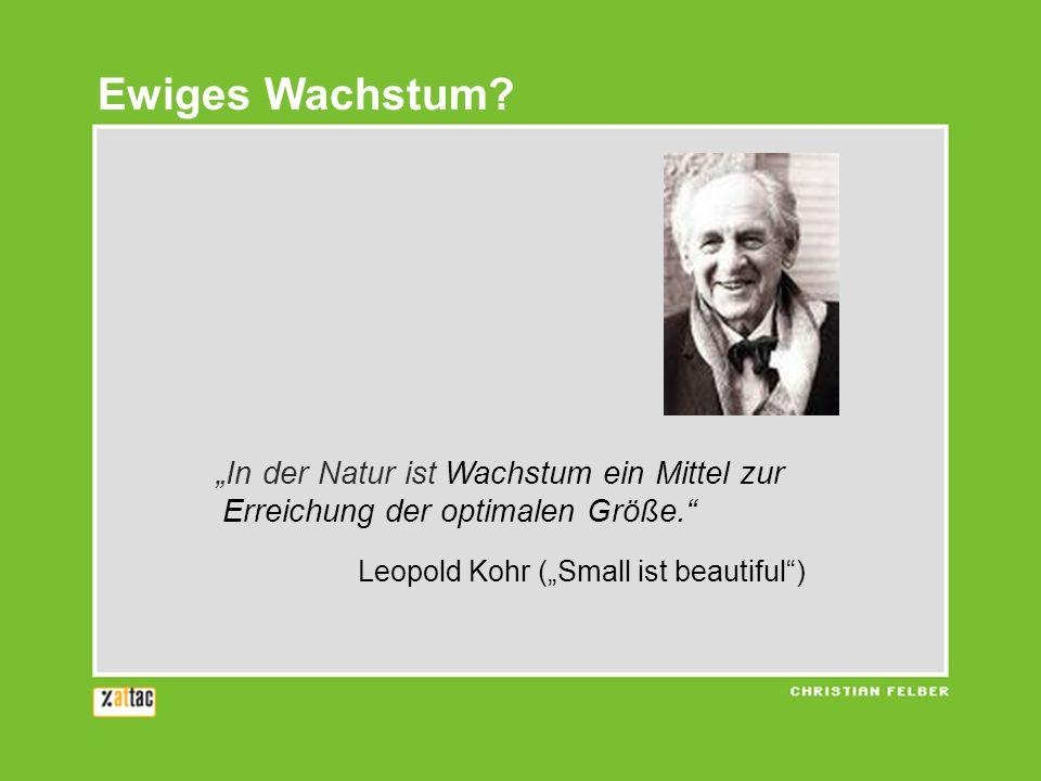 In der Natur ist Wachstum ein Mittel zur Erreichung der optimalen Größe. Leopold Kohr (Small ist beautiful) Ewiges Wachstum?