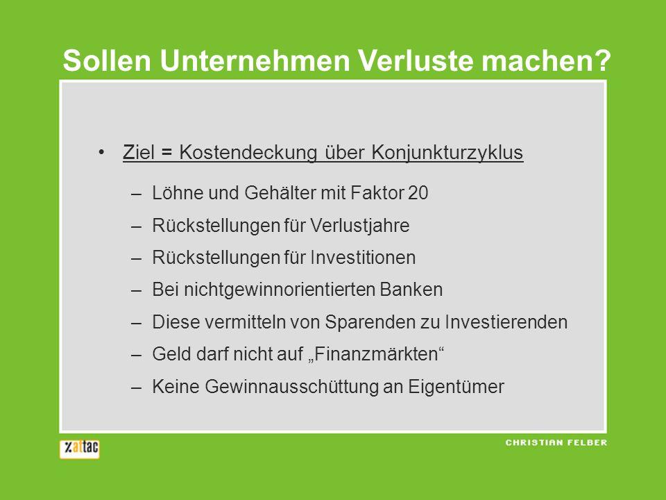 Ziel = Kostendeckung über Konjunkturzyklus –Löhne und Gehälter mit Faktor 20 –Rückstellungen für Verlustjahre –Rückstellungen für Investitionen –Bei n