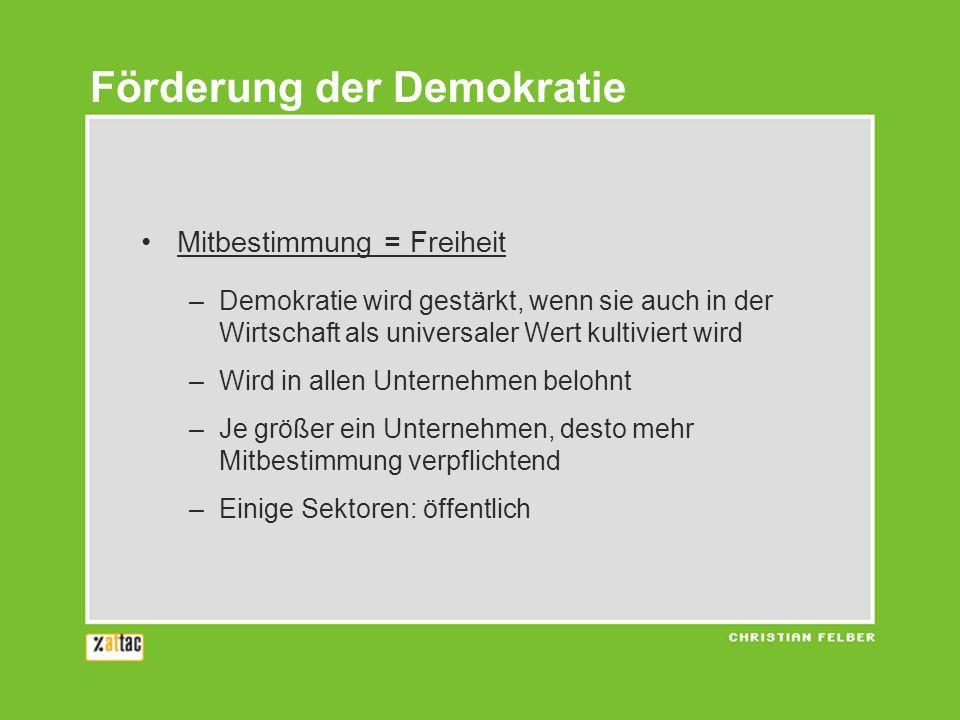 Mitbestimmung = Freiheit –Demokratie wird gestärkt, wenn sie auch in der Wirtschaft als universaler Wert kultiviert wird –Wird in allen Unternehmen be