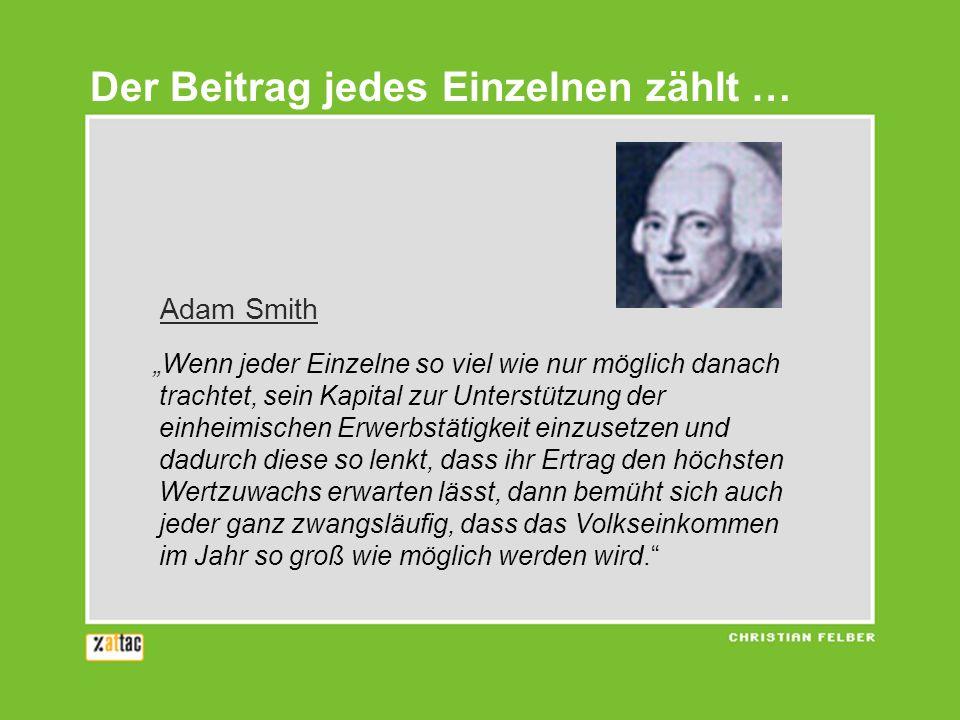 Adam Smith Wenn jeder Einzelne so viel wie nur möglich danach trachtet, sein Kapital zur Unterstützung der einheimischen Erwerbstätigkeit einzusetzen
