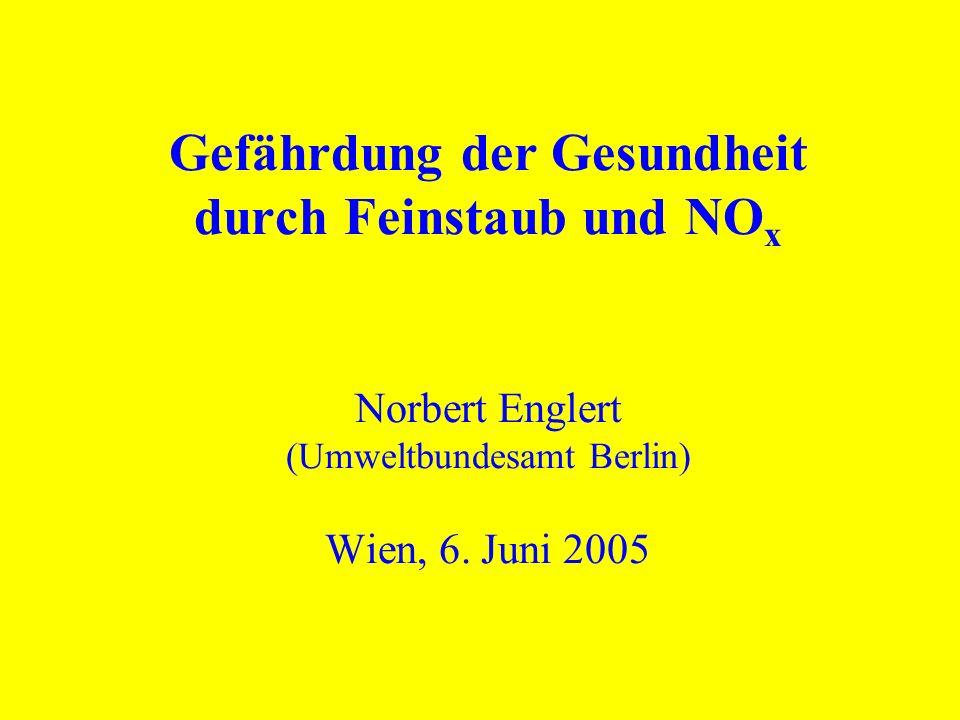 Gefährdung der Gesundheit durch Feinstaub und NO x Norbert Englert (Umweltbundesamt Berlin) Wien, 6. Juni 2005