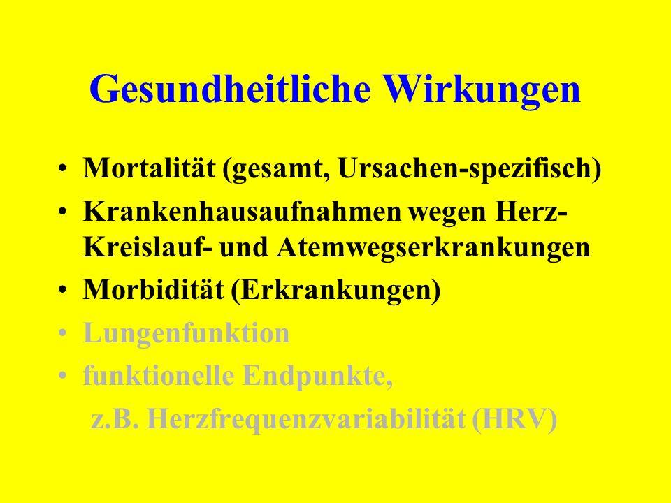 Gesundheitliche Wirkungen Mortalität (gesamt, Ursachen-spezifisch) Krankenhausaufnahmen wegen Herz- Kreislauf- und Atemwegserkrankungen Morbidität (Er