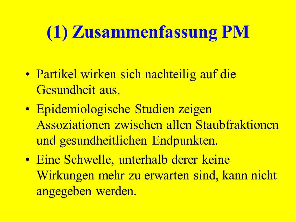 (1) Zusammenfassung PM Partikel wirken sich nachteilig auf die Gesundheit aus. Epidemiologische Studien zeigen Assoziationen zwischen allen Staubfrakt