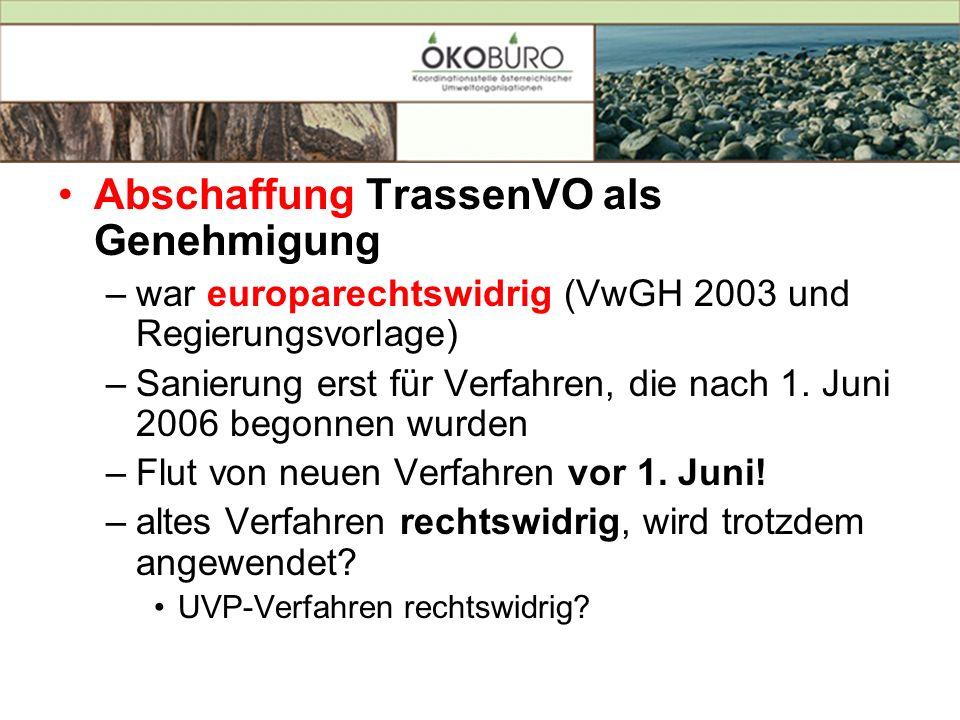 Abschaffung TrassenVO als Genehmigung –war europarechtswidrig (VwGH 2003 und Regierungsvorlage) –Sanierung erst für Verfahren, die nach 1. Juni 2006 b