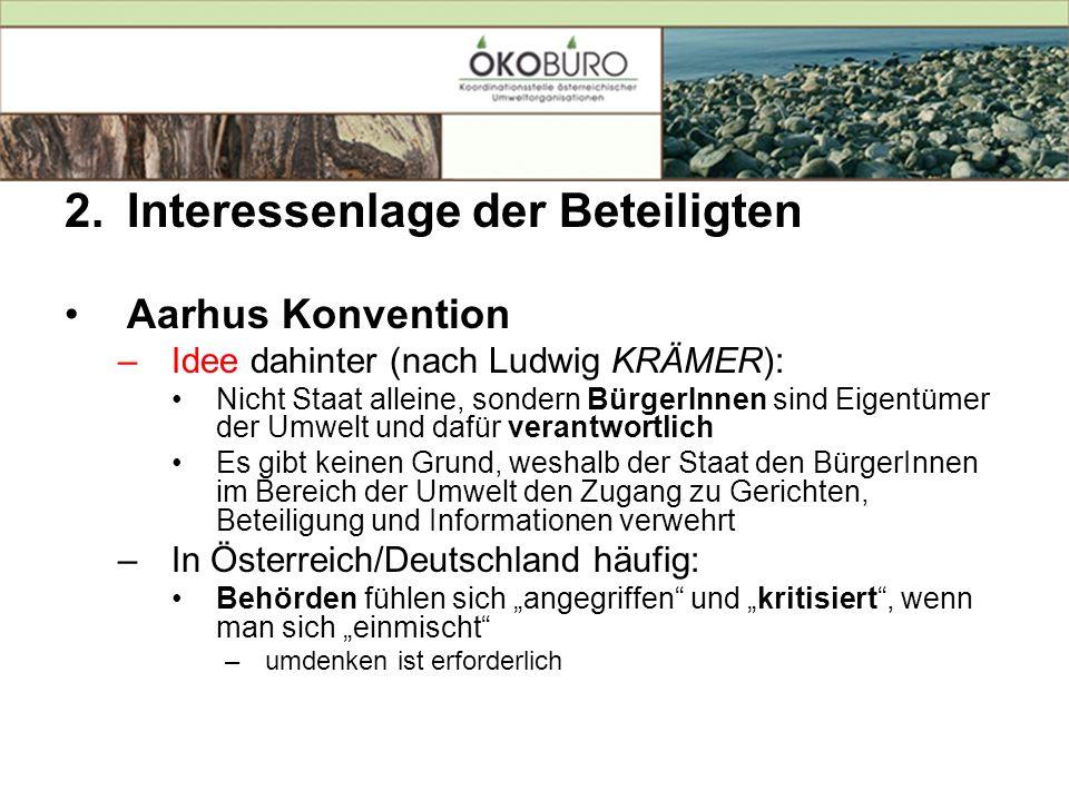 2.Interessenlage der Beteiligten Aarhus Konvention –Idee dahinter (nach Ludwig KRÄMER): Nicht Staat alleine, sondern BürgerInnen sind Eigentümer der U