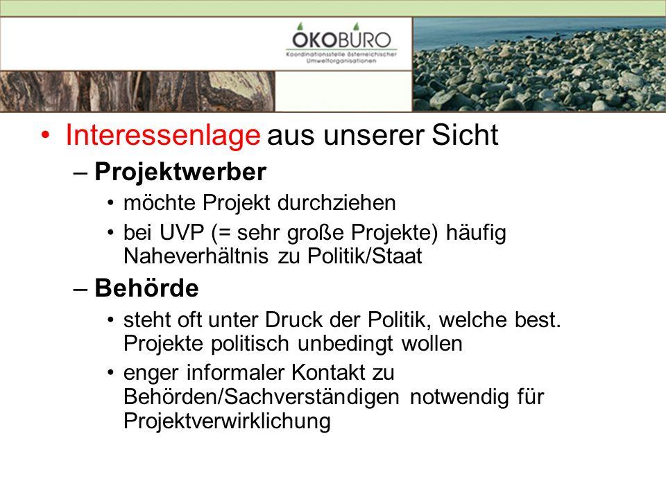 Interessenlage aus unserer Sicht –Projektwerber möchte Projekt durchziehen bei UVP (= sehr große Projekte) häufig Naheverhältnis zu Politik/Staat –Beh