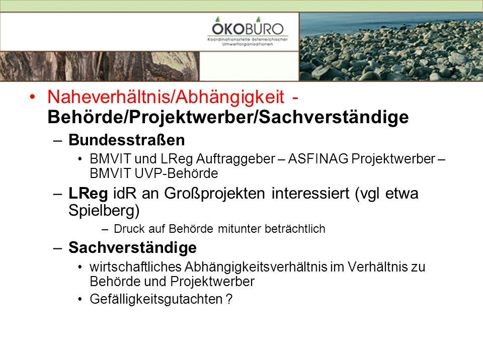 Naheverhältnis/Abhängigkeit - Behörde/Projektwerber/Sachverständige –Bundesstraßen BMVIT und LReg Auftraggeber – ASFINAG Projektwerber – BMVIT UVP-Beh