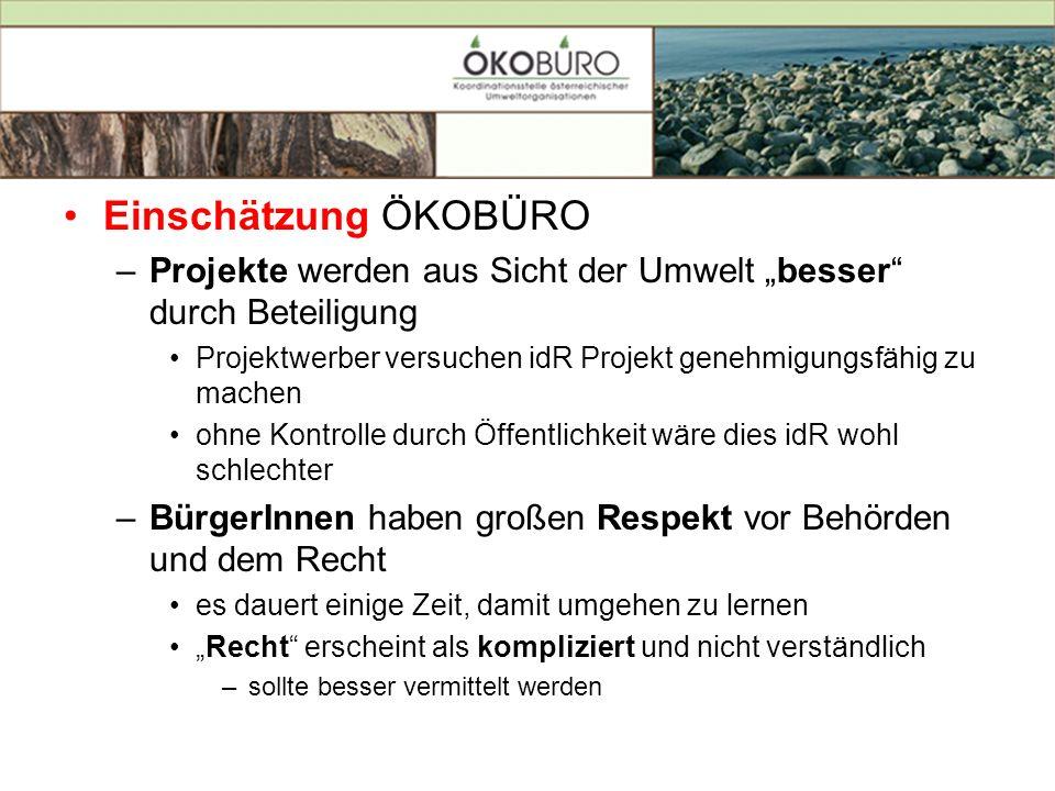 Einschätzung ÖKOBÜRO –Projekte werden aus Sicht der Umwelt besser durch Beteiligung Projektwerber versuchen idR Projekt genehmigungsfähig zu machen oh