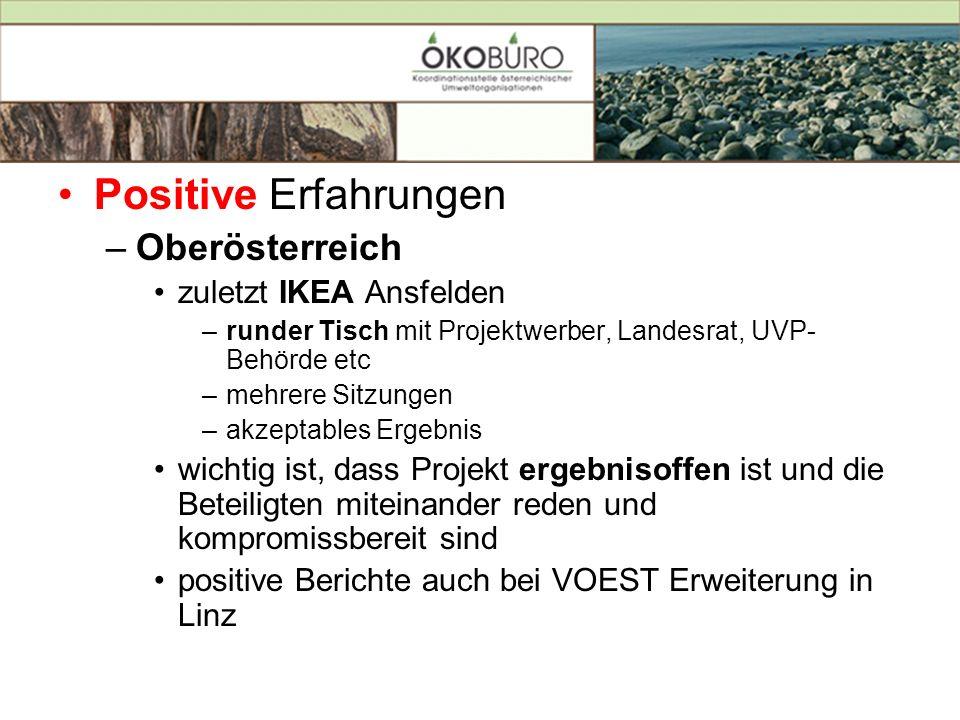 Positive Erfahrungen –Oberösterreich zuletzt IKEA Ansfelden –runder Tisch mit Projektwerber, Landesrat, UVP- Behörde etc –mehrere Sitzungen –akzeptabl