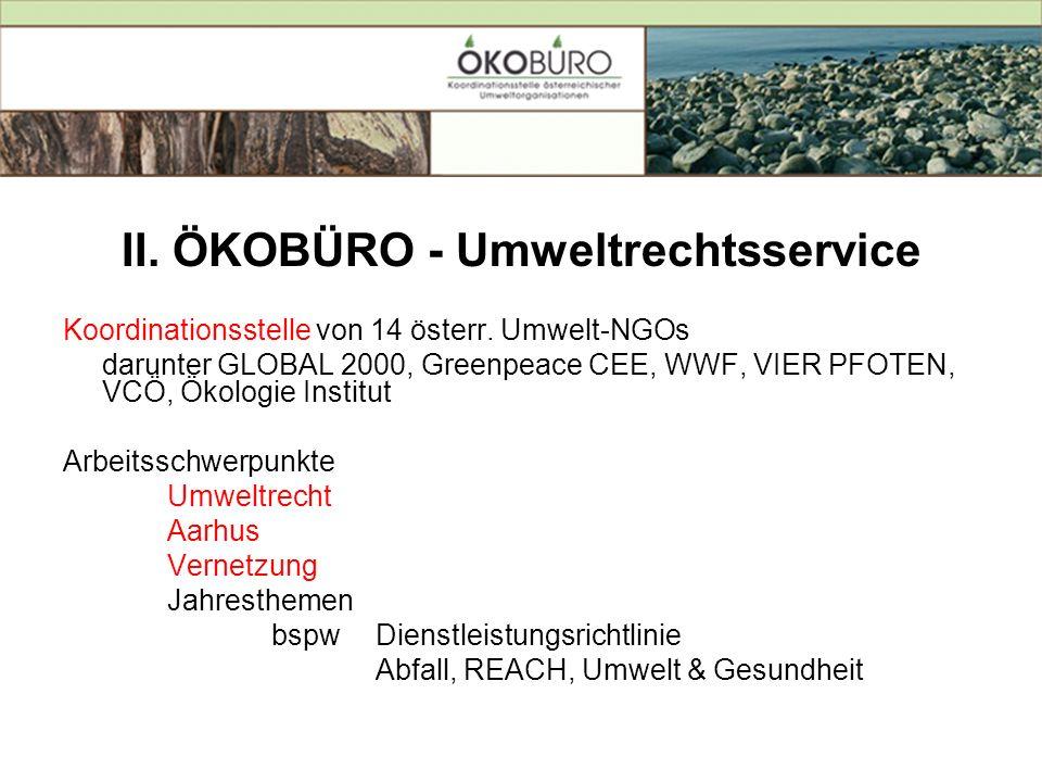 II. ÖKOBÜRO - Umweltrechtsservice Koordinationsstelle von 14 österr. Umwelt-NGOs darunter GLOBAL 2000, Greenpeace CEE, WWF, VIER PFOTEN, VCÖ, Ökologie