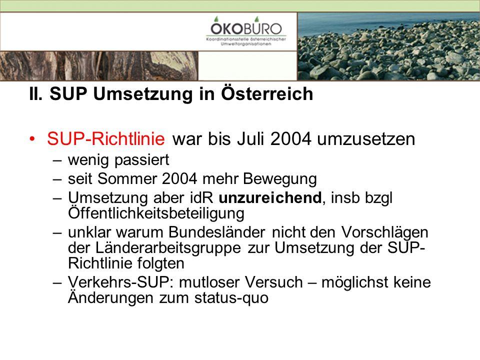 II. SUP Umsetzung in Österreich SUP-Richtlinie war bis Juli 2004 umzusetzen –wenig passiert –seit Sommer 2004 mehr Bewegung –Umsetzung aber idR unzure
