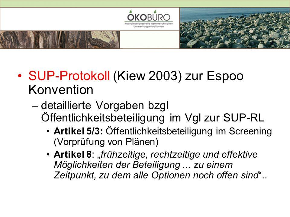 SUP-Protokoll (Kiew 2003) zur Espoo Konvention –detaillierte Vorgaben bzgl Öffentlichkeitsbeteiligung im Vgl zur SUP-RL Artikel 5/3: Öffentlichkeitsbe