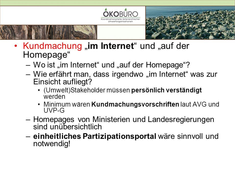 Kundmachung im Internet und auf der Homepage –Wo ist im Internet und auf der Homepage? –Wie erfährt man, dass irgendwo im Internet was zur Einsicht au