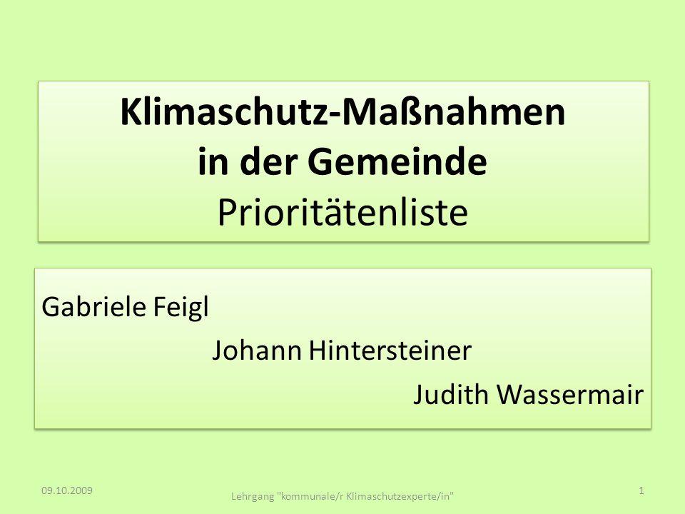 Klimaschutz-Maßnahmen in der Gemeinde Prioritätenliste Gabriele Feigl Johann Hintersteiner Judith Wassermair Gabriele Feigl Johann Hintersteiner Judit