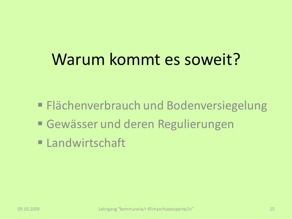 Warum kommt es soweit? Flächenverbrauch und Bodenversiegelung Gewässer und deren Regulierungen Landwirtschaft 09.10.2009Lehrgang