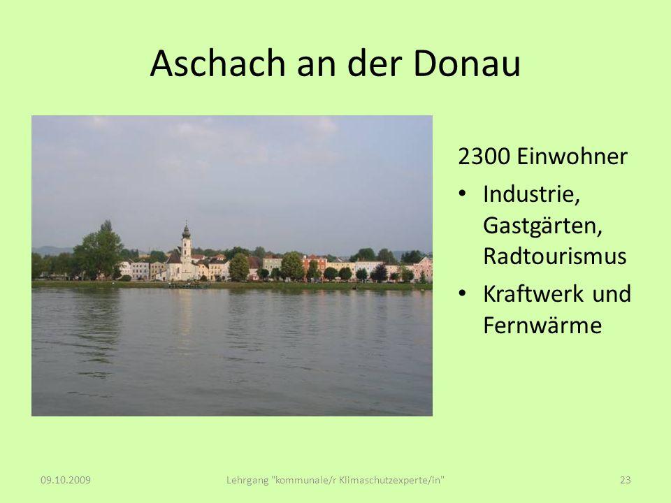 Aschach an der Donau 2300 Einwohner Industrie, Gastgärten, Radtourismus Kraftwerk und Fernwärme 09.10.2009Lehrgang