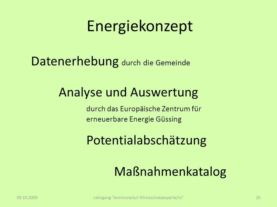Energiekonzept Datenerhebung durch die Gemeinde Analyse und Auswertung durch das Europäische Zentrum für erneuerbare Energie Güssing Potentialabschätz