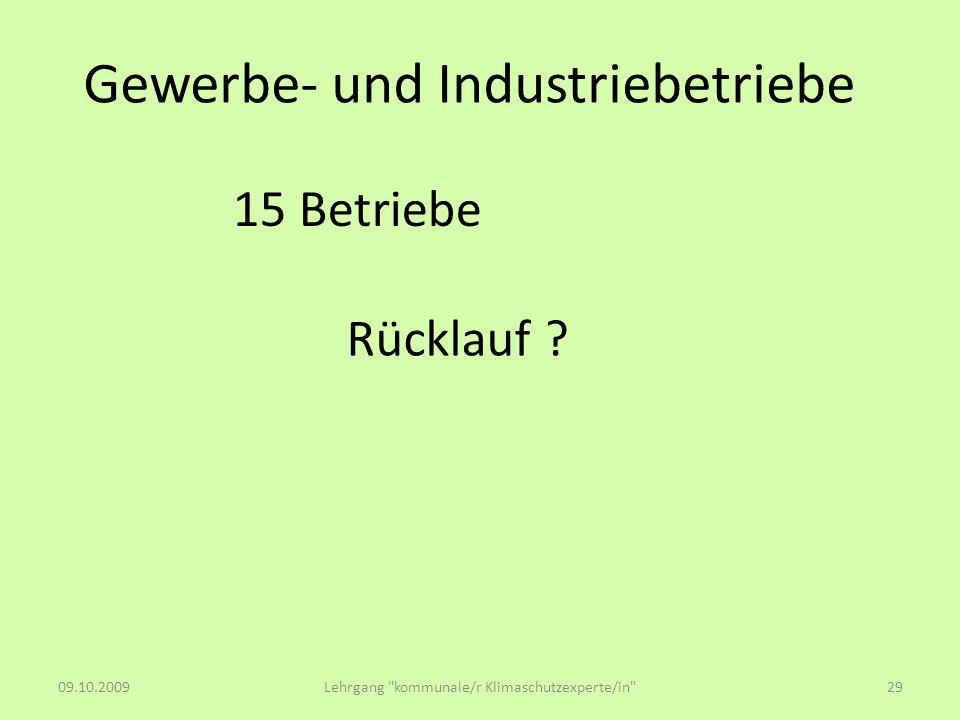 Gewerbe- und Industriebetriebe Rücklauf ? 15 Betriebe 09.10.2009Lehrgang