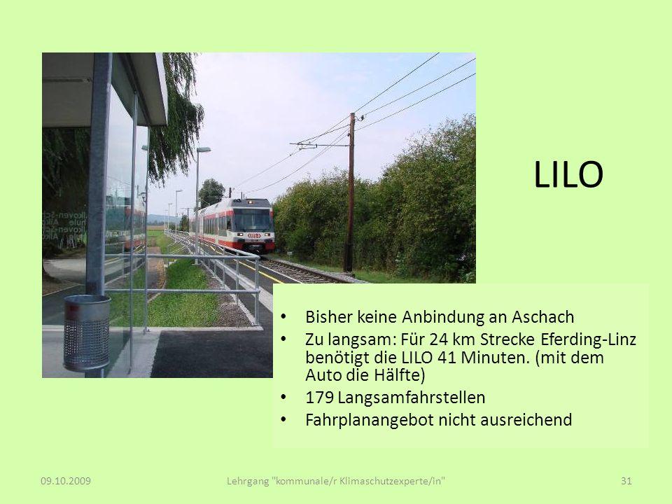 LILO Bisher keine Anbindung an Aschach Zu langsam: Für 24 km Strecke Eferding-Linz benötigt die LILO 41 Minuten. (mit dem Auto die Hälfte) 179 Langsam