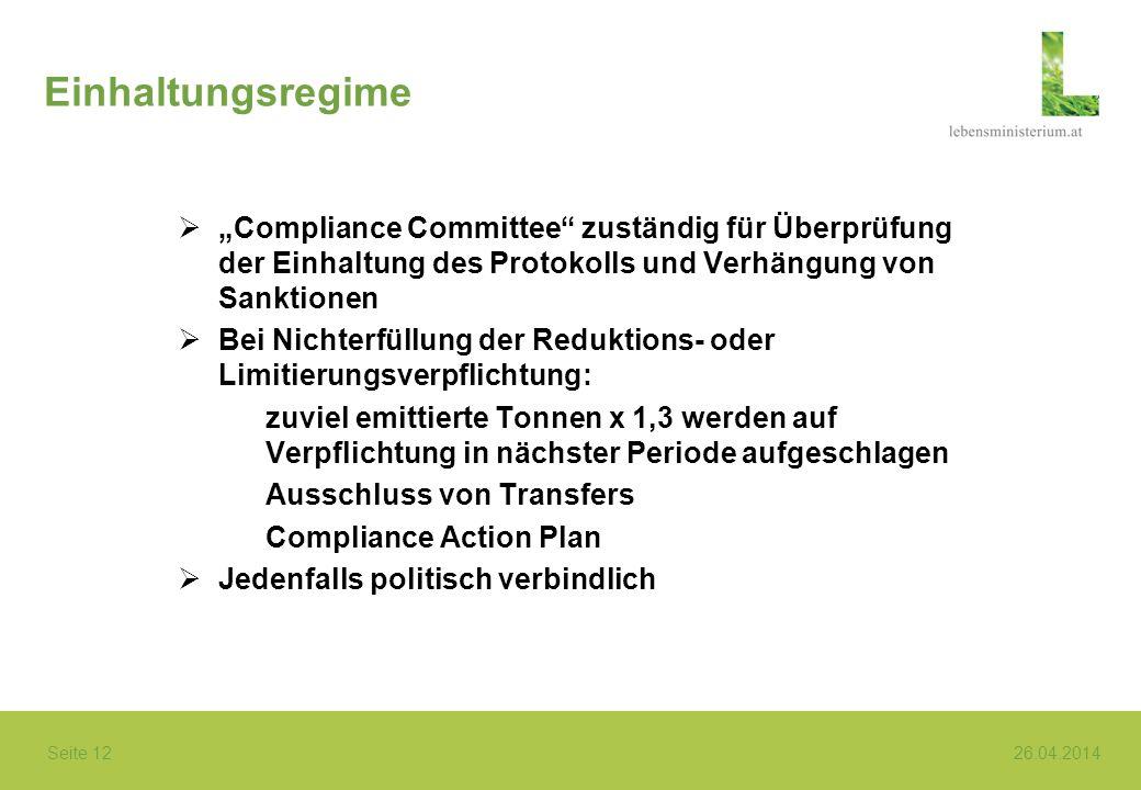Seite 12 26.04.2014 Einhaltungsregime Compliance Committee zuständig für Überprüfung der Einhaltung des Protokolls und Verhängung von Sanktionen Bei N