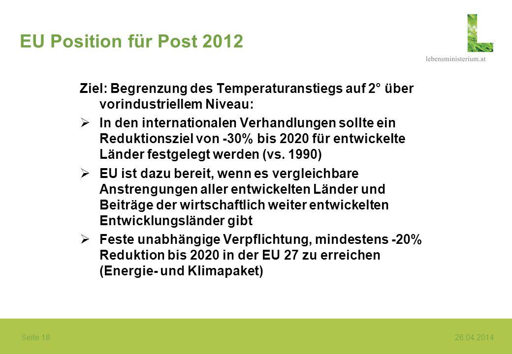 Seite 18 26.04.2014 EU Position für Post 2012 Ziel: Begrenzung des Temperaturanstiegs auf 2° über vorindustriellem Niveau: In den internationalen Verh