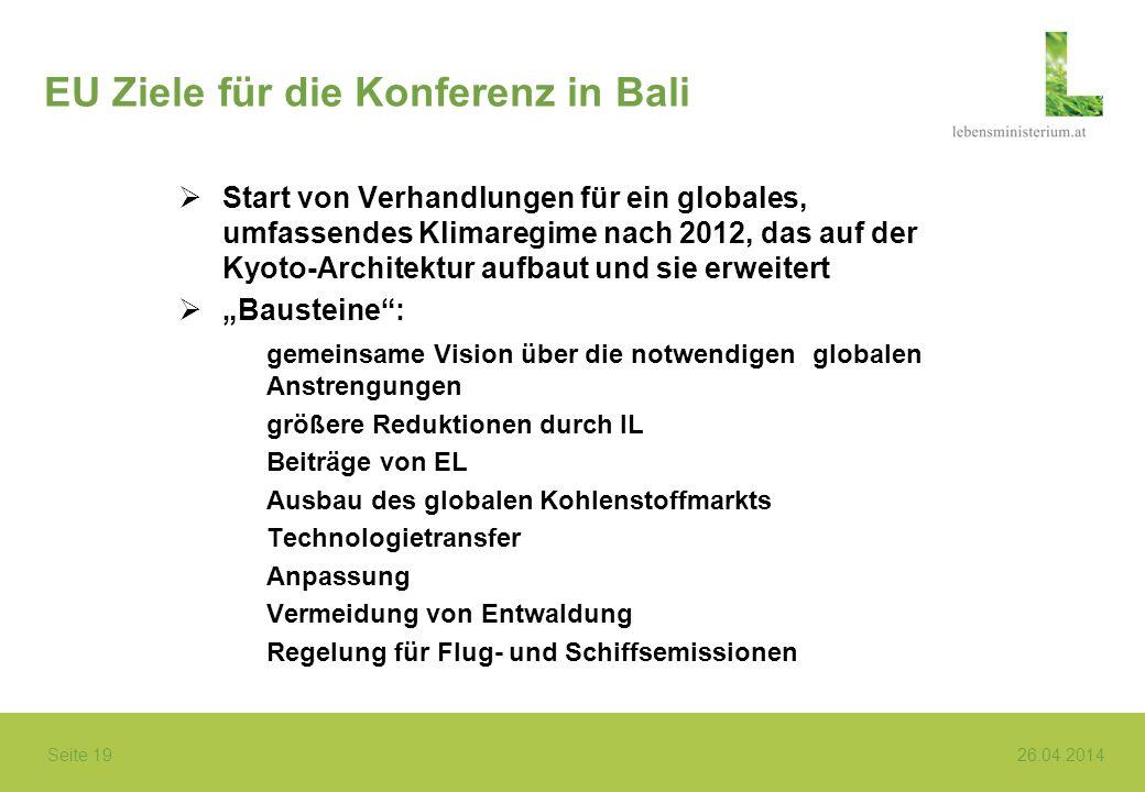 Seite 19 26.04.2014 EU Ziele für die Konferenz in Bali Start von Verhandlungen für ein globales, umfassendes Klimaregime nach 2012, das auf der Kyoto-