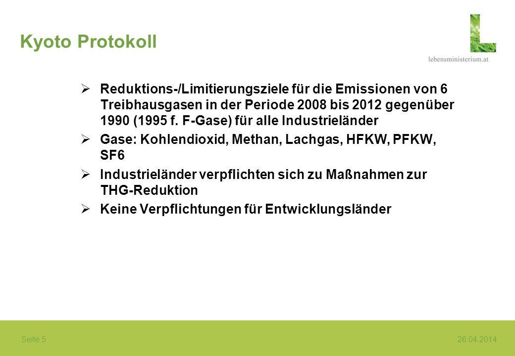 Seite 5 26.04.2014 Kyoto Protokoll Reduktions-/Limitierungsziele für die Emissionen von 6 Treibhausgasen in der Periode 2008 bis 2012 gegenüber 1990 (