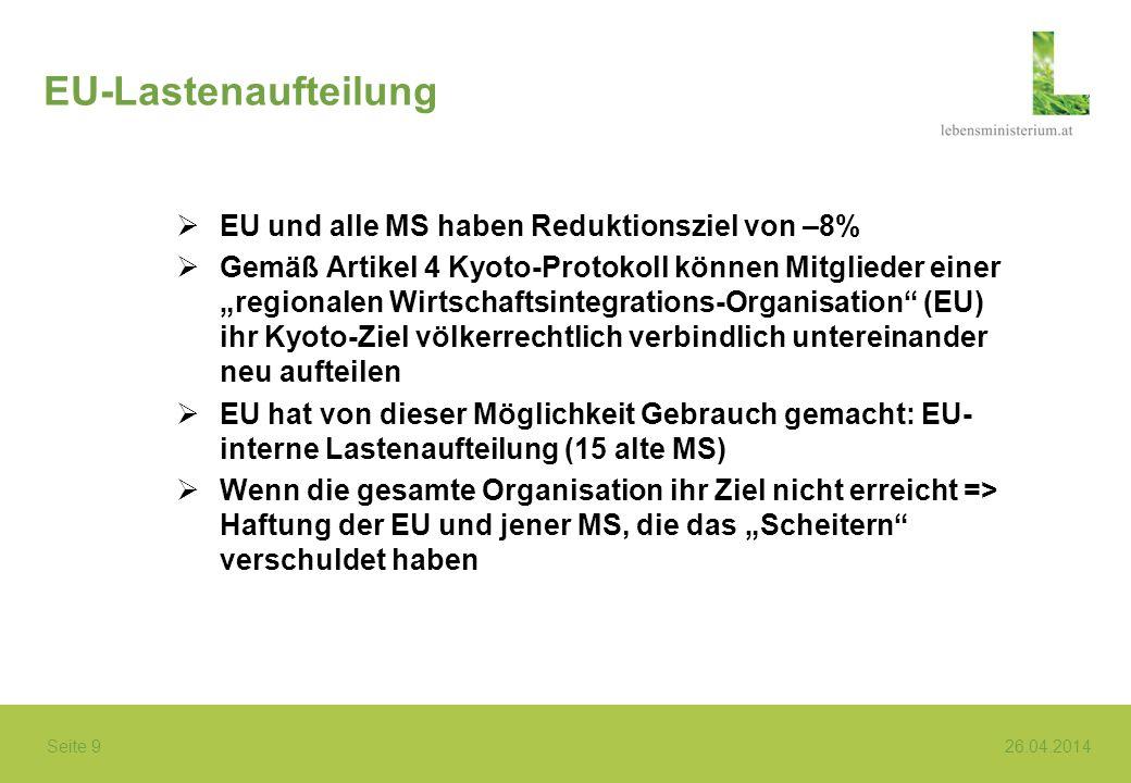 Seite 9 26.04.2014 EU-Lastenaufteilung EU und alle MS haben Reduktionsziel von –8% Gemäß Artikel 4 Kyoto-Protokoll können Mitglieder einer regionalen