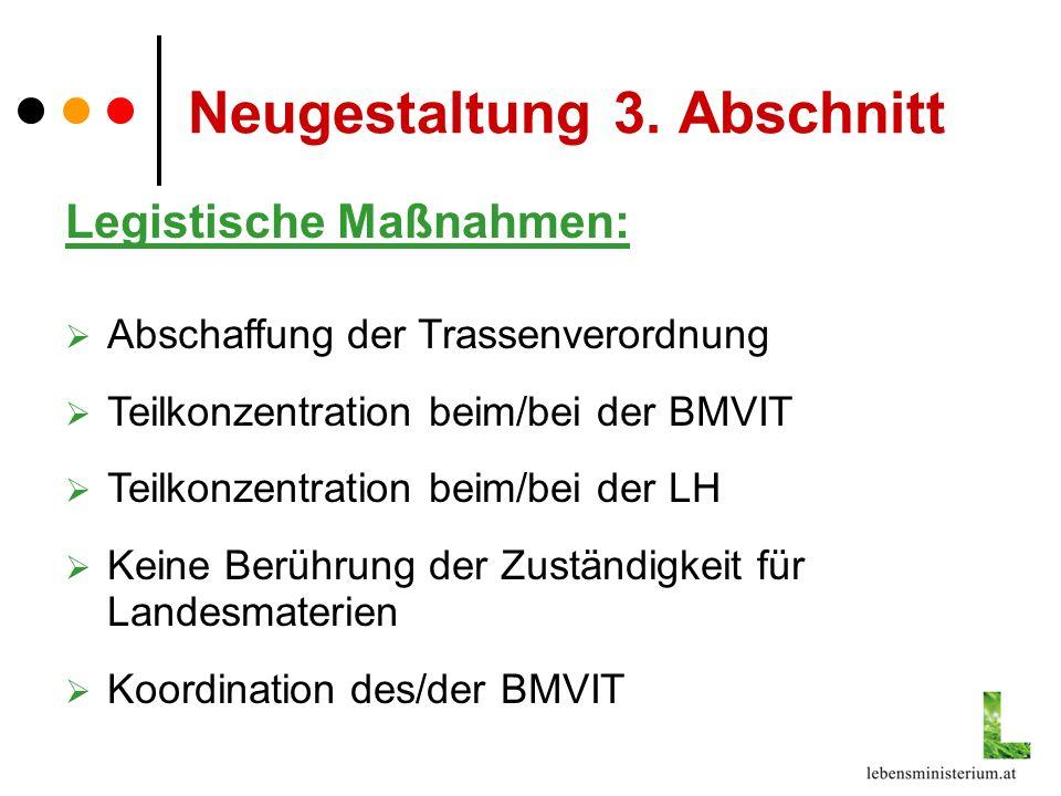 Neugestaltung 3. Abschnitt Legistische Maßnahmen: Abschaffung der Trassenverordnung Teilkonzentration beim/bei der BMVIT Teilkonzentration beim/bei de