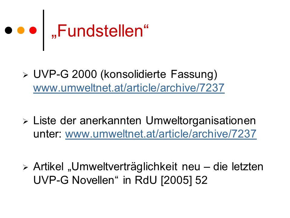 Fundstellen UVP-G 2000 (konsolidierte Fassung) www.umweltnet.at/article/archive/7237 www.umweltnet.at/article/archive/7237 Liste der anerkannten Umweltorganisationen unter: www.umweltnet.at/article/archive/7237www.umweltnet.at/article/archive/7237 Artikel Umweltverträglichkeit neu – die letzten UVP-G Novellen in RdU [2005] 52