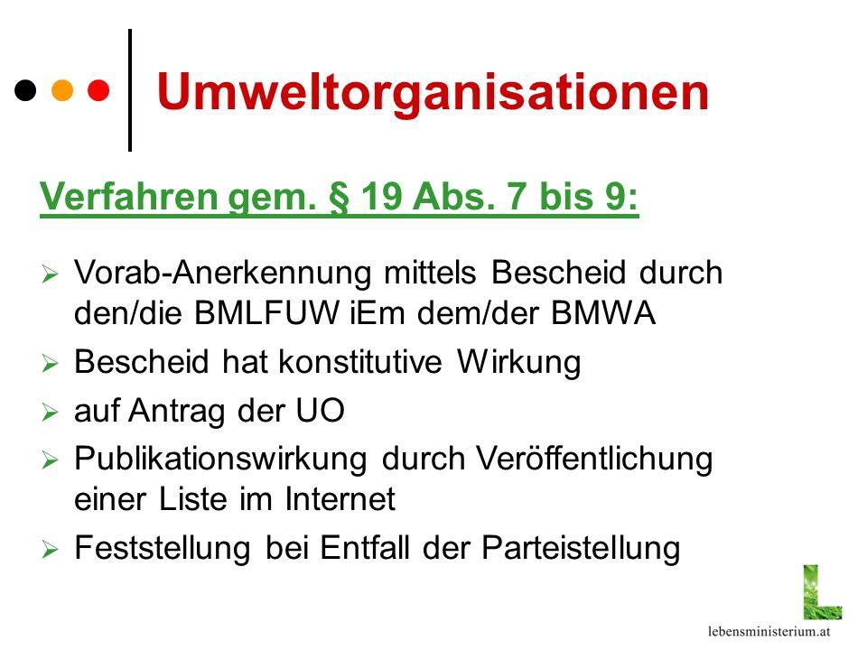 Verfahren gem. § 19 Abs. 7 bis 9: Vorab-Anerkennung mittels Bescheid durch den/die BMLFUW iEm dem/der BMWA Bescheid hat konstitutive Wirkung auf Antra