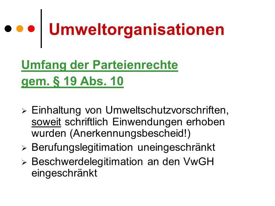 Umweltorganisationen Umfang der Parteienrechte gem.