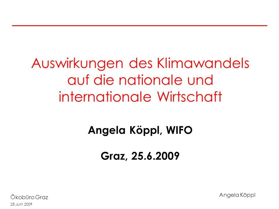 Angela Köppl Ökobüro Graz 25.Juni 2009 Auswirkungen des Klimawandels auf die nationale und internationale Wirtschaft Angela Köppl, WIFO Graz, 25.6.2009