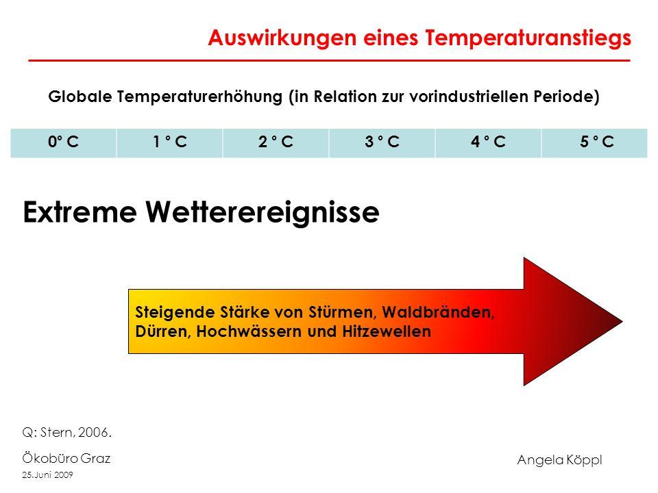 Angela Köppl Ökobüro Graz 25.Juni 2009 Auswirkungen eines Temperaturanstiegs Globale Temperaturerhöhung (in Relation zur vorindustriellen Periode) 0 ° C1 ° C2 ° C3 ° C4 ° C 5 ° C Steigende Stärke von Stürmen, Waldbränden, Dürren, Hochwässern und Hitzewellen Extreme Wetterereignisse Q: Stern, 2006.