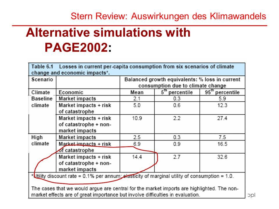 Angela Köppl Stern Review: Auswirkungen des Klimawandels Alternative simulations with PAGE2002: