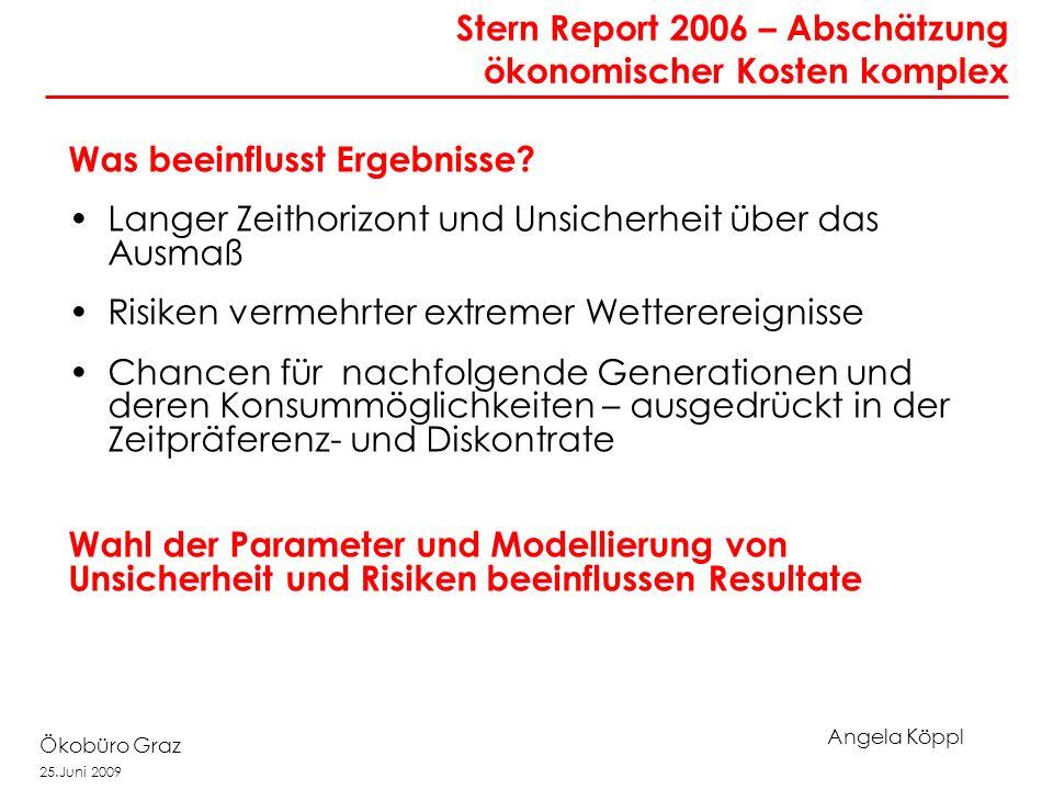 Angela Köppl Ökobüro Graz 25.Juni 2009 Was beeinflusst Ergebnisse? Langer Zeithorizont und Unsicherheit über das Ausmaß Risiken vermehrter extremer We