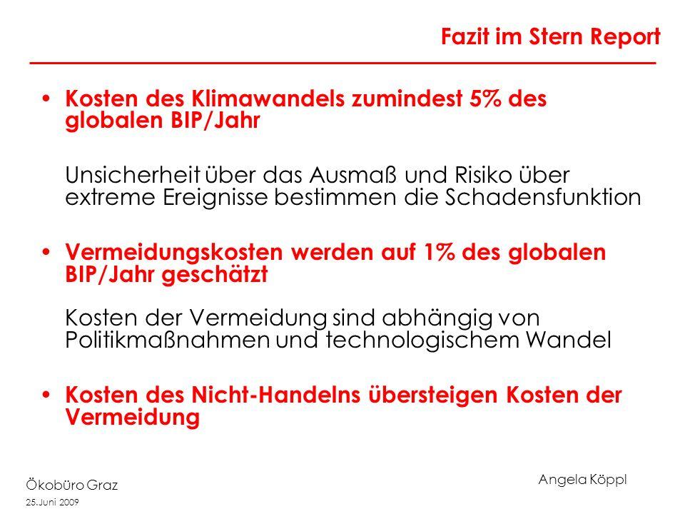 Angela Köppl Ökobüro Graz 25.Juni 2009 Fazit im Stern Report Kosten des Klimawandels zumindest 5% des globalen BIP/Jahr Unsicherheit über das Ausmaß u