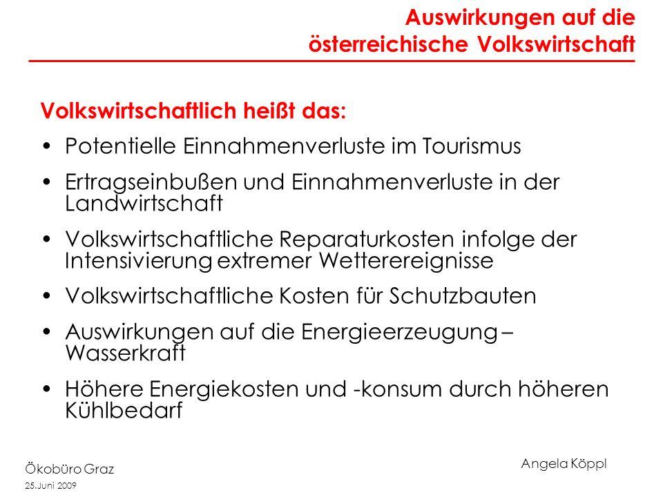 Angela Köppl Ökobüro Graz 25.Juni 2009 Volkswirtschaftlich heißt das: Potentielle Einnahmenverluste im Tourismus Ertragseinbußen und Einnahmenverluste