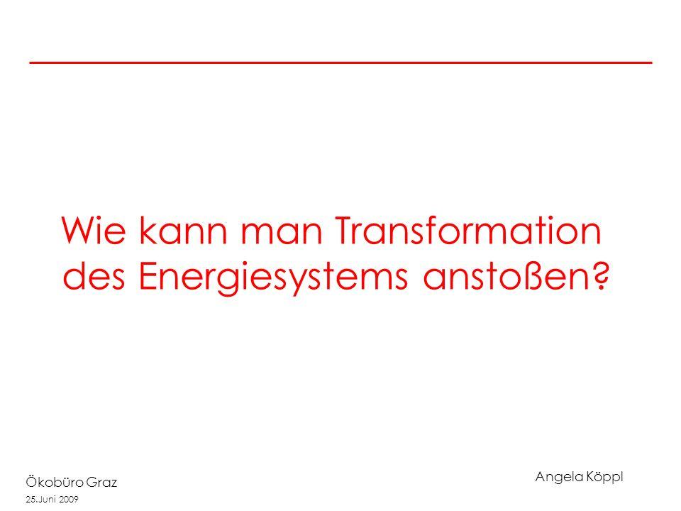 Angela Köppl Ökobüro Graz 25.Juni 2009 Wie kann man Transformation des Energiesystems anstoßen