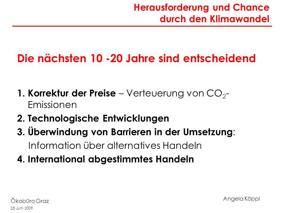 Angela Köppl Ökobüro Graz 25.Juni 2009 Die nächsten 10 -20 Jahre sind entscheidend 1. Korrektur der Preise – Verteuerung von CO 2 - Emissionen 2. Tech