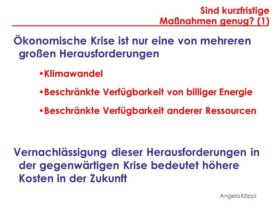 Angela Köppl Sind kurzfristige Maßnahmen genug? (1) Ökonomische Krise ist nur eine von mehreren großen Herausforderungen Klimawandel Beschränkte Verfü