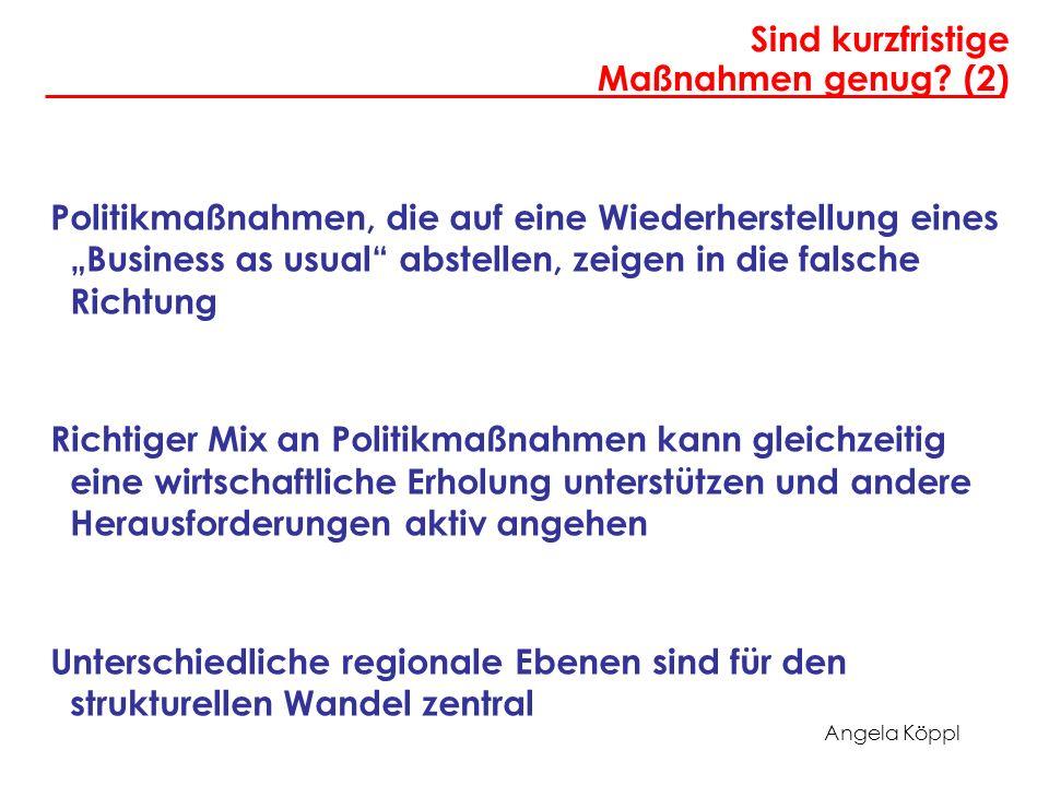 Angela Köppl Sind kurzfristige Maßnahmen genug? (2) Politikmaßnahmen, die auf eine Wiederherstellung eines Business as usual abstellen, zeigen in die