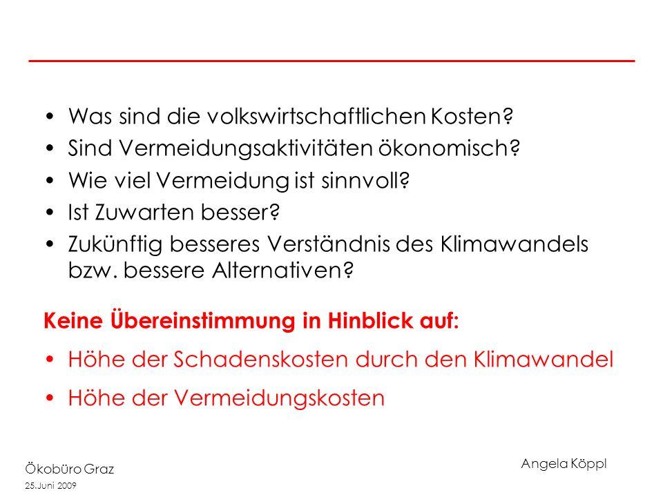 Angela Köppl Ökobüro Graz 25.Juni 2009 Stern Report 2006 Wichtiger Beitrag zur Ökonomie des Klimawandels