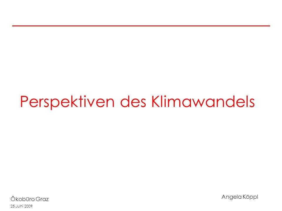 Angela Köppl Ökobüro Graz 25.Juni 2009 Perspektiven des Klimawandels
