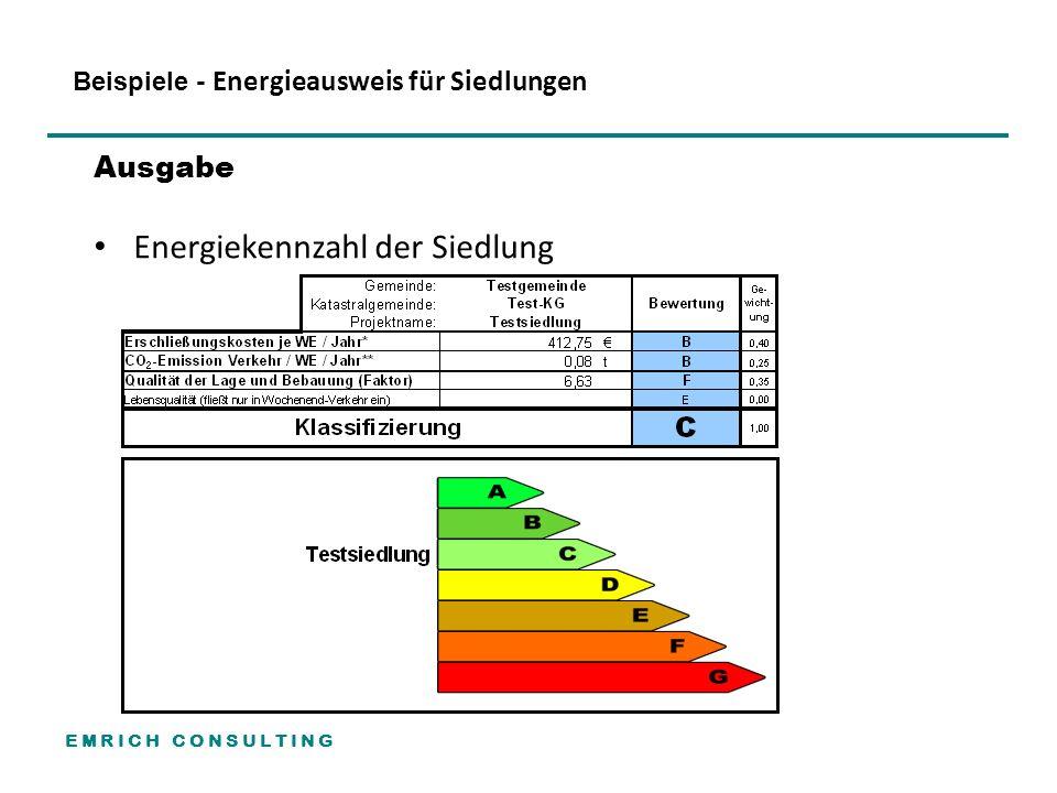 E M R I C H C O N S U L T I N G Beispiele - Energieausweis für Siedlungen Ausgabe Energiekennzahl der Siedlung
