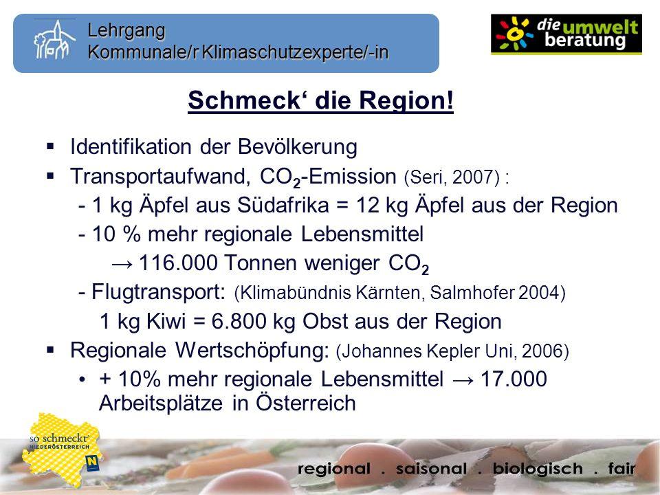 Lehrgang Kommunale/r Klimaschutzexperte/-in Schmeck die Region! Identifikation der Bevölkerung Transportaufwand, CO 2 -Emission (Seri, 2007) : - 1 kg