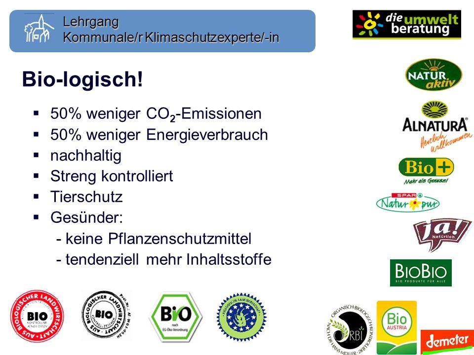 Lehrgang Bio-logisch! 50% weniger CO 2 -Emissionen 50% weniger Energieverbrauch nachhaltig Streng kontrolliert Tierschutz Gesünder: - keine Pflanzensc
