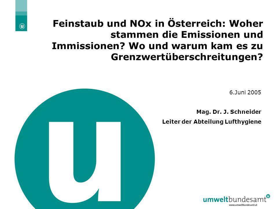 6.6.2005 | Folie 1 Feinstaub und NOx in Österreich: Woher stammen die Emissionen und Immissionen? Wo und warum kam es zu Grenzwertüberschreitungen? 6.